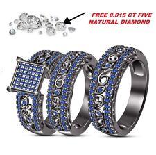 Black Gold Over 2.9Ct Blue Sapphire Engagement Bridal Wedding Band Trio Ring Set