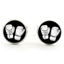 BOXER BOXING GLOVES CUFFLINKS SILVER PLATED + FREE GIFT BOX & 1ST CLASS POST