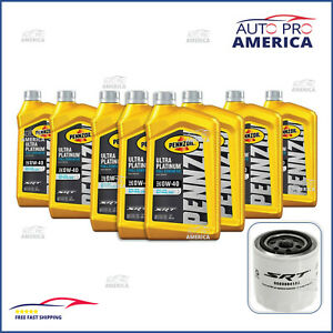 (8) DODGE HELLCAT 6.2L 8Qt Full Synthetic Pennzoil Motor Oil & OEM MOPAR Filter