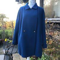 Marina Rinaldi Pure Wool Long Jacket Size 31 UK 26 Luxurious and Stunning Blue
