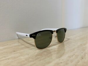 Genuine Ray-Ban 3016 49-21 Classic Vintage Sunglasses Black & White on Rose Gold
