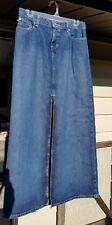 RALPH LAUREN POLO JEANS CO Women 4 Denim Modest Long Maxi Straight Skirt w/ Slit