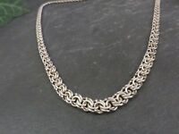 Schöne Silber Kette Flach Modern Jugendstil Art Deco Collier Elegant Vintage
