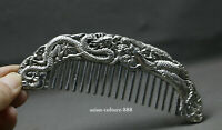 Chinese Old Decoration Collectibles Tibet Silver Carving Dragon Phoenix Comb KY