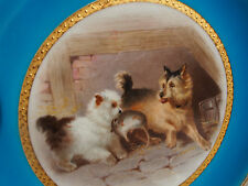 Antique Minton~Henry Mitchell~Dogs w Mouse Pray~Reticulated Cabinet Plate c 1879