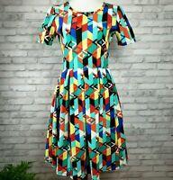 Lularoe Amelia dress M womens fit and flare zipper dress bright geometric poly