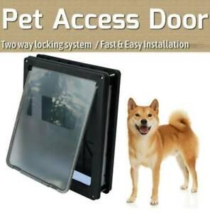 Extra Large Size 2 Way Lockable Pet Dog Cat Safe Security Brushy Flap Door Black