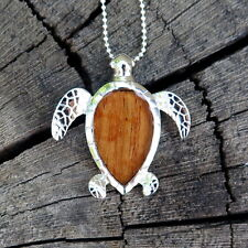 Hawaii Jewelry Koa Wood Honu Turtle Silver Rhodium Plated Brass Pendant BRP1152