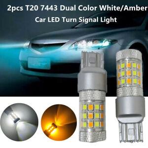 2x T20 7443 2835 SMD LED Bulbs Dual Color White/Amber Car Turn Signal Light Lamp