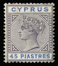 Cyprus 1894 QV 45pi grey-purple & blue mint cat £120 ($150). SG 49. Sc 37.