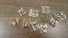 Lot Assorted Miniature Metal Plaques, Jewelry Craft Pieces