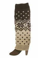 TWO TONE GREY WITH SNOW FLAKE DESIGN LEG WARMER LEGGINGS ..NEW