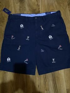 "Polo Ralph Lauren Men's Navy Embroidered Chinos Shorts Size 38"" Waist BNWT"
