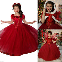 Frozen Elsa Anna Kids Girls Dresses Costume Princess Party Fancy Dress + Cape