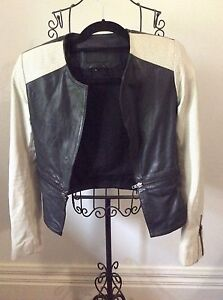 Wittner Leather Jacket Sz S Cream / Black Immac Cond Pd $400