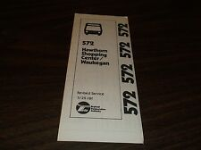 January 1981 Chicago Rta Route 572 Hawthorn Shopping Waukegan Bus Schedule