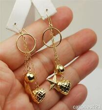 14K YELLOW GOLD CHAINED DANGLE CHARMS EARRINGS