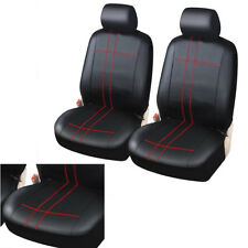 Classic PU Leather Pair Car Front Seat Covers Black+Red Suture 4mm Foam Padding