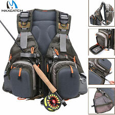 Maxcatch Multi-pocket Fly Fishing Vest Backpack Chest Mesh Bag Adjustable Size