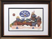 """Amram Ebgi """"Jerusalem Gate II"""" FRAMED Art Signed Israel Holy Land Judaic"""