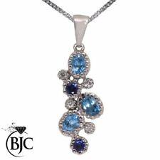 Collares y colgantes de joyería con gemas azules naturales zafiro