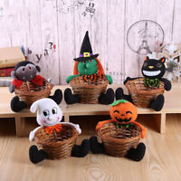 HALLOWEEN PUMPKIN DOLL CANDY STORAGE BASKET TABLETOP ORNAMENT PARTY SUPPLIES