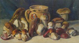 Still Life with Mushrooms - Original Antique Oil Painting Vintage Soviet Art.