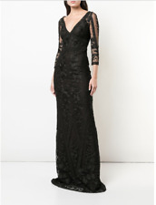 MARCHESA NOTTE LONG EMBROIDERED TULLE FLORAL LACE BLACK GOWN DRESS sz 14