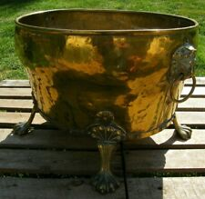 More details for  a large riveted brass country house log bin lion mask handles bucket planter
