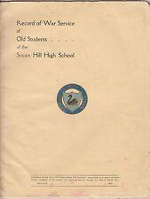 WW2 Australia Swan Hill High School Victoria record of service book, scarce