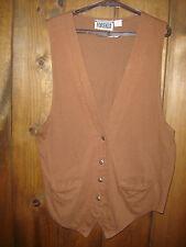 FORENZA 100% Cotton Knit Button Front Vest with V Split on back hem Lt Brown L