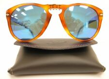 PERSOL 714 SUNGLASSES Polarized BLUE Steve McQueen LIGHT HAVANA (9633) Size 54
