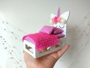 Miniature Unicorn Bed, 1:12 scale Dollhouse Furniture. White Handmade Sofa doll