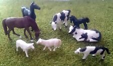 1:87 Scale HO/OO Gauge Model Railway 8 Mixed Farm Animals - Cows, Horses,Sheep