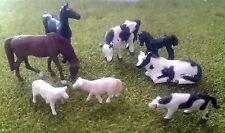 1 87 Scale Ho/oo Gauge Model Railway 8 Mixed Farm Animals - Cows Horses Sheep