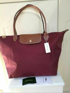 Womens New Wine Longchamp Le Pliage 1899 Nylon Tote Handbag Bag Size L
