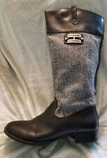 TOMMY HILFIGER sz 10 M VALOUR Black Leather Tweed Herringbone Mid Calf Boots