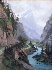 Austrian Artist Karl Flieher (1881-1958) Mixed Media Mountain Landscape Nice!