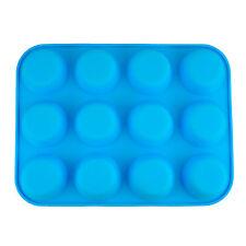 12 Tazza grande in silicone Chignon/muffin antiaderente Tin Vassoio da forno Pudding Mold blu