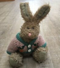 """Berkeley Designs Easter Bunny Rabbit In Knit Sweater Stuffed Plush Jointed 9"""""""