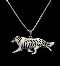 Border Collie Dog Running Pendant Necklace -  Fashion Jewellery -silver Plated