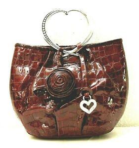 Brighton Corazon Deep Croc Heart Handles Burgundy Patent Leather Satchel Bag