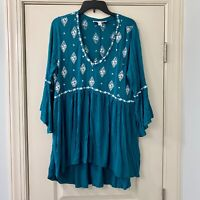 Torrid Teal White Embroidered Boho Peasant Top 1X
