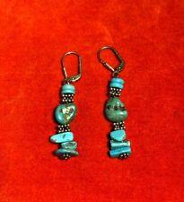 New listing Lovely Vtg Southwest Navajo Native American Sterling Silver Turquoise Earrings