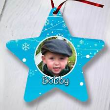 Ornamento del árbol de Navidad Personalizado Decoración-Star-Azul Copos de nieve