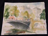 Aquarelle Paris Pont d'Arcole André Simon 1926-2014 1950 Artiste Lorrain