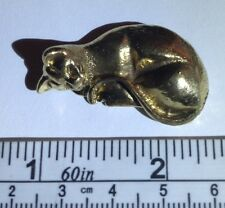 Mini Brass Sleeping Cat Statue Figurine Authentic Asian Amulet. Free Ship in USA