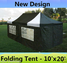 10' x 20' Pop Up Canopy Party Tent Gazebo EZ - Black White - E Model