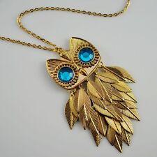 Retro Topshop Gold Leaf Owl Chain Fashion Necklace