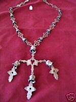 Sterling necklace by Ronnie Willie cross-shaped links 10 bells 26 inches long